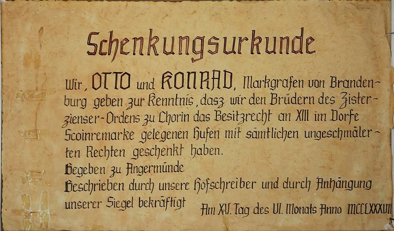 Schenkungsurkunde Dorf Schönermark