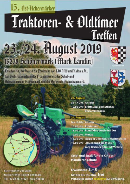 Flyer für das 15. Uckermärker Traktoren- und Oldtimer-Treffen 2019